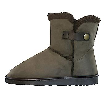 Centro Ronzo Womens Faux Fur Warm Winter Ankle Boots - Brown