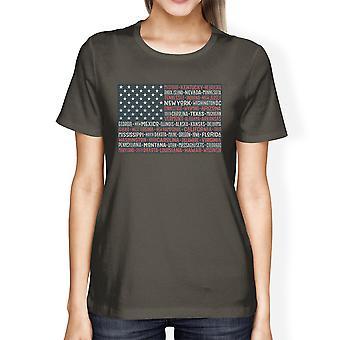 50 stater amerikanska flaggan skjorta dam mörk grå bomull mössan