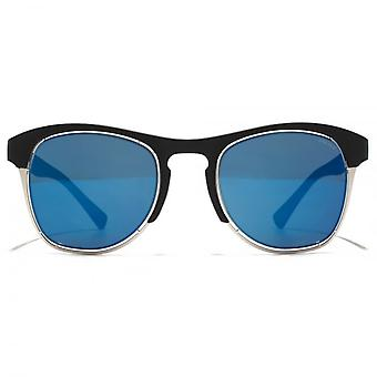 Police Half Rim Keyhole Sunglasses In Matte Black Blue Mirror
