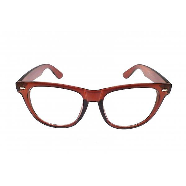 W.A.T Retro Brown Framed Clear Glass Geek Glasses
