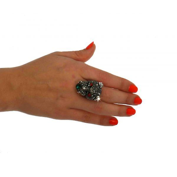 W.A.T Pewter Swarovski Crystal Panther Head Ring