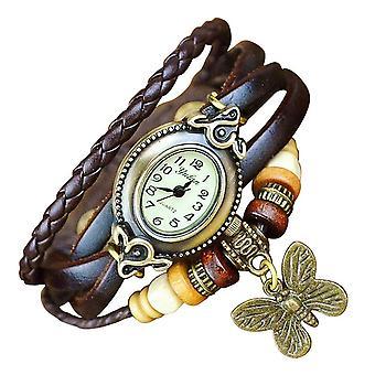 Boolavard® TM Schmetterling Quarz Mode weben Wrap-around-Leder-Armband-Frauen-Armbanduhr