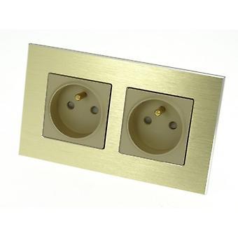 I LumoS Luxury Gold Brushed Aluminium Frame 16A French Double Socket UK & EU Standard