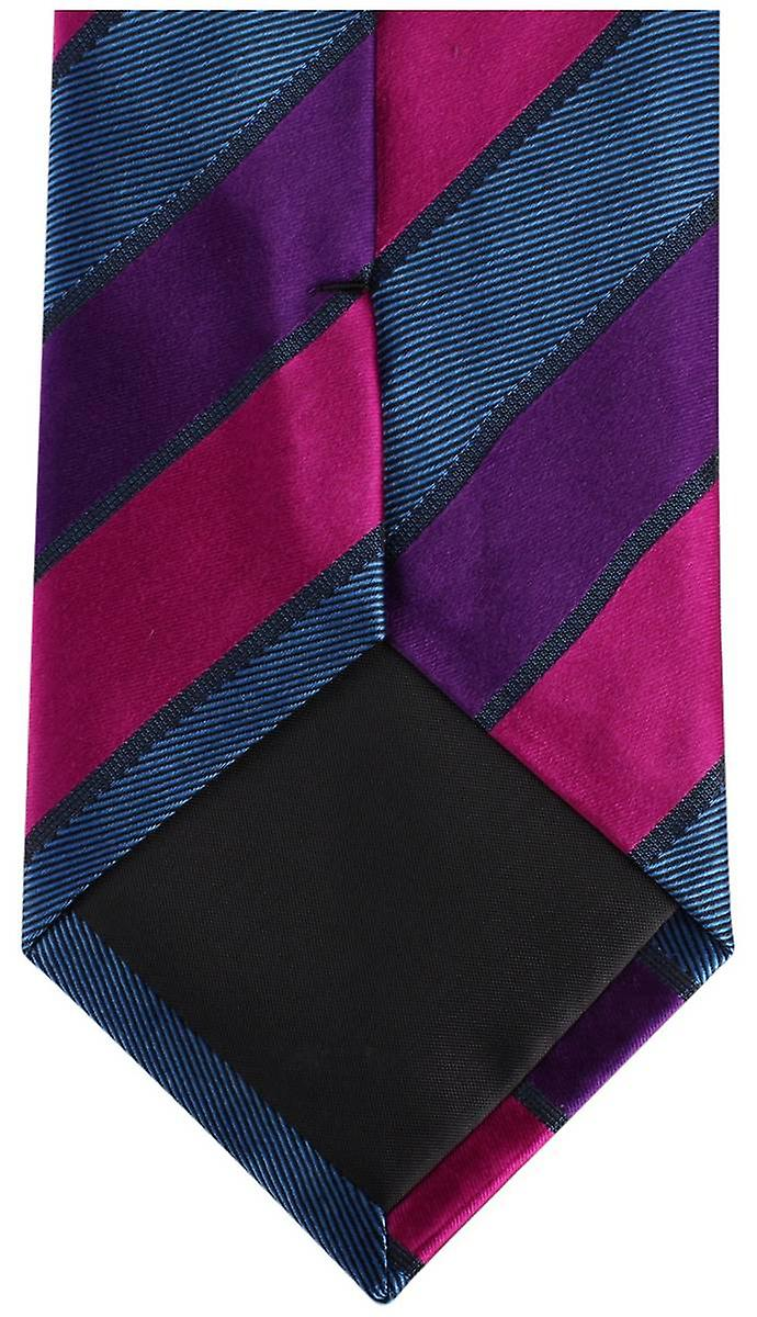 Knightsbridge Neckwear Kensington Diagonal Striped Silk Tie - Blue/Purple/Pink