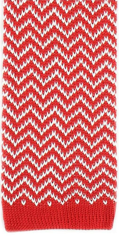 Michelsons of London Zig Zag Silk Knitted Skinny Tie - Red/White