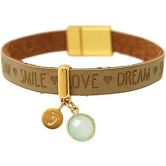 Footprint - 925 Silver - gold plated - bracelet - chalcedony - sea green - magnetic lock - WISHES - Brown - sand-
