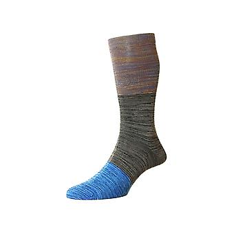 Timor unique men's cotton lisle dress socks in pebble | By Pantherella