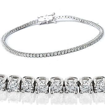 2 1/2 Karat Diamant Tennis Armband massiv 14K White Gold 7