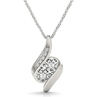 1ct Forever Us Two Stone Natural Diamond Pendant 10K White Gold & 18