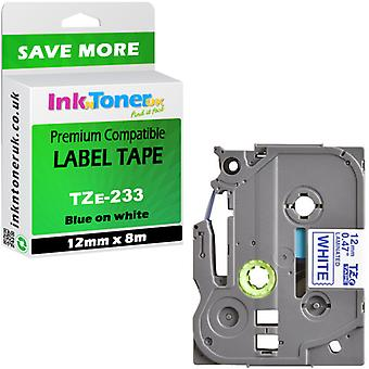 Compatible Brother PT-H101C Label Tape TZe233 blue-white 12x8