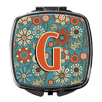 Carolines Treasures  CJ2012-GSCM Letter G Flowers Retro Blue Compact Mirror