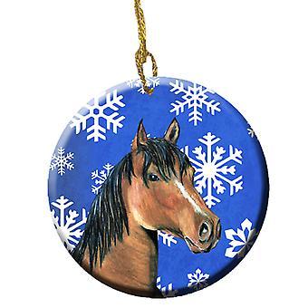 Carolines Schätze SB3146CO1 Pferd Winter Schneeflocken Urlaub keramischen Ornament