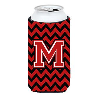 Letter M Chevron Black and Red   Tall Boy Beverage Insulator Hugger