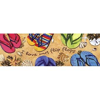 I Love My Flip Flops Poster Print by Barb Tourtillotte (18 x 6)