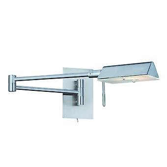 1 ljus Satin Silver Swing - Arm Wall Light - strålkastare 7665ss