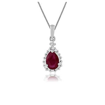 9ct White Gold 0.72ct Ruby & Diamond Cluster Pendant on Chain