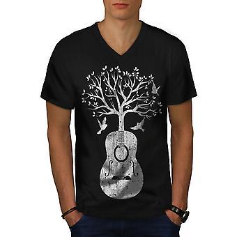 Guitar Music Tree Men BlackV-Neck T-shirt | Wellcoda