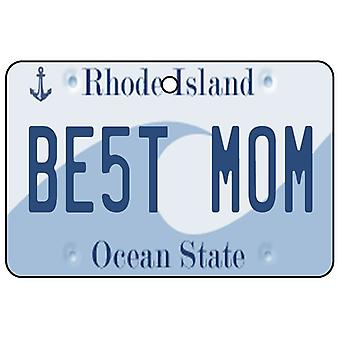 Rhode Island - Best Mom License Plate Car Air Freshener