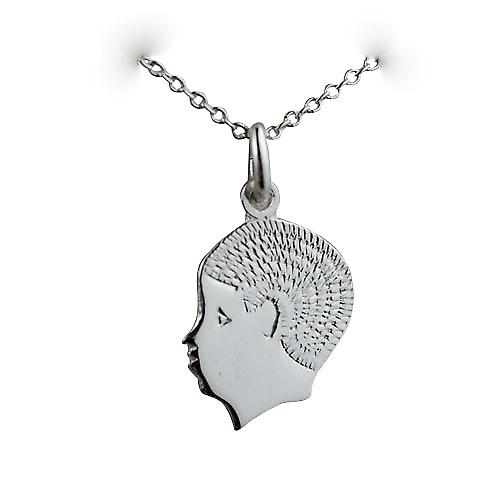 Silver 17x14mm Boys head Charm with a Curb chain