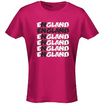 England Cross Funky Football Womens T-Shirt 8 Colours (8-20) by swagwear