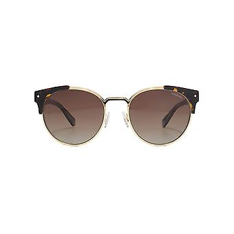 Polaroid Metal Combo Round Sunglasses In Dark Havana Polarised