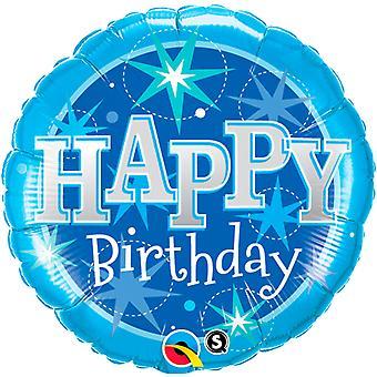 Folie ballong av fødselsdagen Bithday blå ca 45 cm