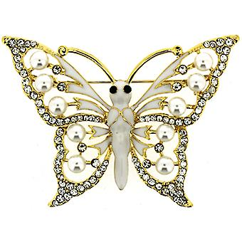 Brooches Store Ivory Enamel Crystal and Pearl Butterfly Brooch (Gold Tone)