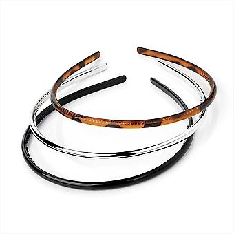 3 Slim Narrow Plastic Alice Bands Headbands Hair Band in Silver Black Tort Brown
