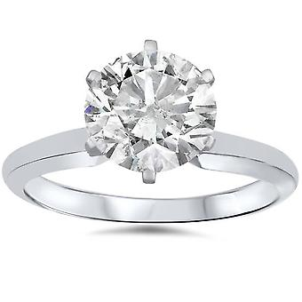1ct Round Enhanced Diamond Solitaire Engagement Ring 14K White Gold