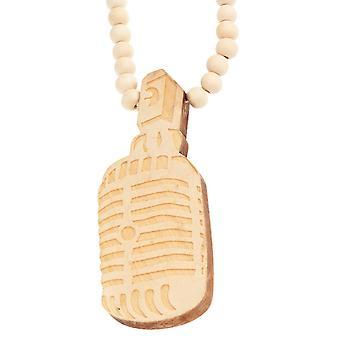 Wood Style Bead Kette - MIKROFON beige