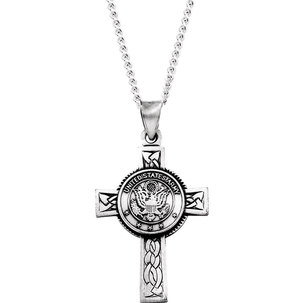 Sterling argent Us Army Cross Pendant 28.5x20.75 - 2.2 Grams
