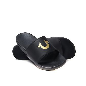 True Religion Black & Gold Pool Slides with Woven Carry Bag