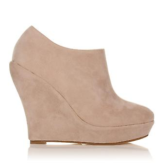 H051 Nude Faux Suede Wedge Very High Heel Platform Shoes