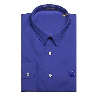 Roberto Cavalli mænd punkt krave bomuld kjole skjorte, blå