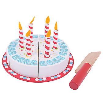 Bigjigs Toys Wooden Play Food Birthday Cake with Candles Pretend Role Play