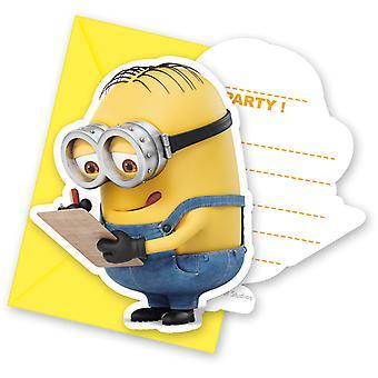 Invitation invitations minions children party invitation card birthday 6 pieces