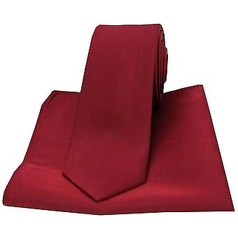 David Van Hagen Satin Thin Tie and Pocket Square Set - Wine