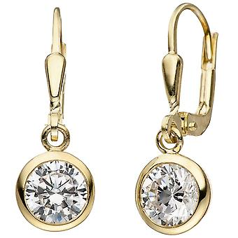 Earrings 925 sterling silver gold gold plated 2 cubic zirconia earrings