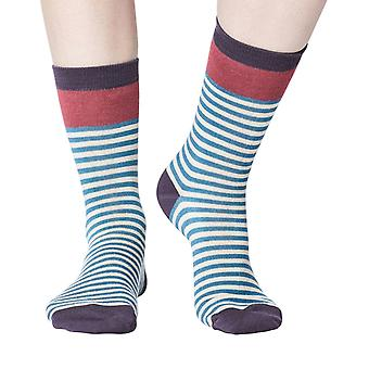 Walla women's super-soft bamboo crew socks in river blue | By Thought