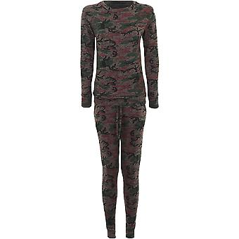 Ladies Army Camouflage Printed Tracksuit 2 Piece Lounge Stretch Jogging Suit