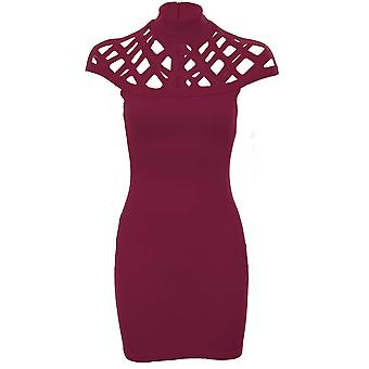 Ladies Celeb Jemma Caged Laser Cut Out Cap Sleeve Bodycon High Neck Dress