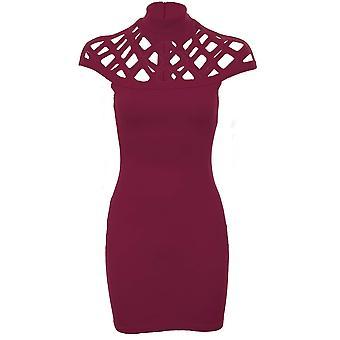 81d748738460 Ladies Celeb Jemma bur Laser skär ut Cap ärm Bodycon High Neck klänning