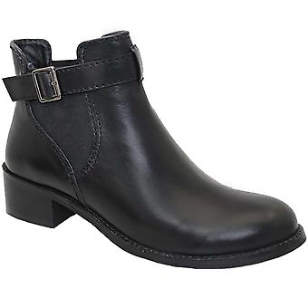 GLH455 Ladies Barbara Buckle Elasticated Side Low Heel Slip On Ankle Boots