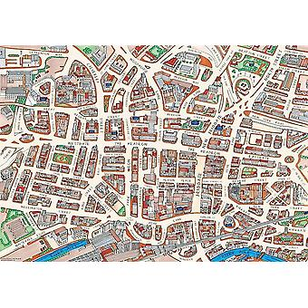 Leeds Street kart 1000 stykke puslespill (jhg)