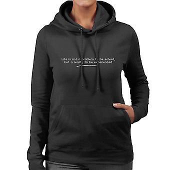 Das Leben ist kein Problem gelöst Sören Kierkegaard Zitat Damen Sweatshirt mit Kapuze sein