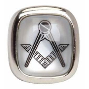 David Van Hagen Mother of Pearl Masonic Tie Tac - Silver
