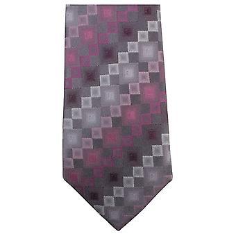 Knightsbridge Neckwear Square Pattern Tie - Pink/Grey