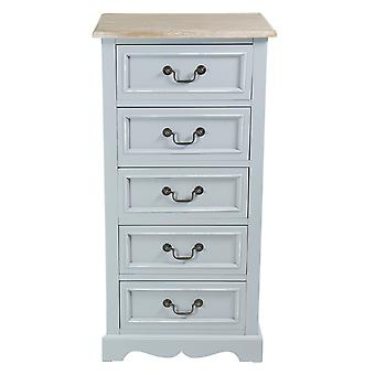 Charles Bentley Home Grey Loxley Country Vintage Solid Wood Chest Of Drawers 5 Drawer Tallboy  - Matching Items Available