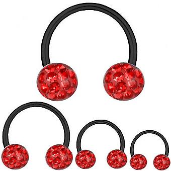 Circular Barbell Hufeisen Black Titan 1,2 mm, Multi Kristall Kugel rot | 6-12