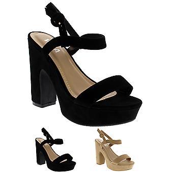 Mode féminine Strappy bloc talon plate-forme Open Toe sandales talons UK 3-10